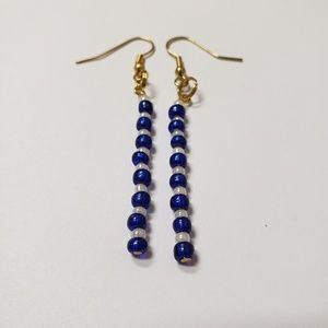 Handmade Earrings | Blue & White beads